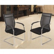 DZYN Furnitures Fabric Office Visitor Chair (Black Set of 2)