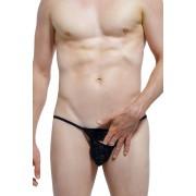 Petit-Q Longwy Peek Hole Transparent Stripe G String Underwear Black PQ170815