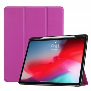 Tri-fold Leather Stand Smart Cover Shell with Pen Slot for iPad Pro 11-inch (2018) - Purple