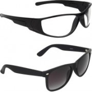 Zyaden Wayfarer, Wrap-around Sunglasses(Black, Clear)