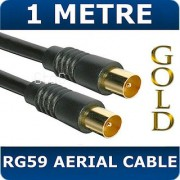 1M Metre Black Gold RG59 RF TV Aerial Lead Cable