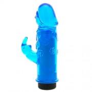 """Vibratore """"Mini Rabbit"""" BLU Con Stimolatore Clitoride 13,5 X 3 cm."""