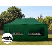 3x6m összecsukható pavilon panoráma ablakos Zöld Professional ()