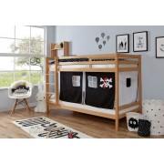 Ticaa Etagenbett »Rene«, mit Rollrost und Textil-Set wahlweise mit Matratze, Buche, Pirat schwarz-weiß