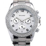 Round Dial ss Silver Metal Strap Analog Watch For Men/ Women By Paidu 6 MONTH WARRANTY