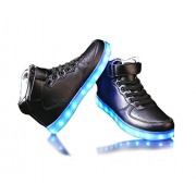 Monika Creations Unisex USB Rechargeable Black High Top LED Simulation Shoes Sneaker - Light Up your Personality (9UK/India (43EU))