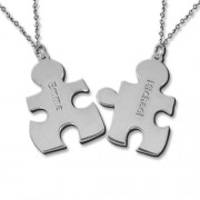 Personalized Men's Jewelry Personalized Sterling Silver Couple's Puzzle Necklace 110-01-132-02