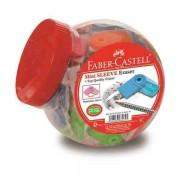 Radiera Creion Sleeve Mini Neon Borcan 80 Buc Faber-Castell