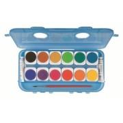 Acuarele Morocolor cu pensula, diametru pastila 30 mm, 2 tuburi albe, 12 culori/set
