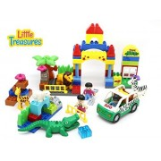 72 Piece Building Block Do It Yourself Zoo Play set with Lion and Alligator All Pieces Interchangeable with other sets