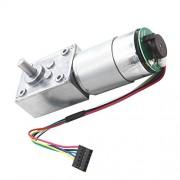 FashLady 24V 16rpm, Silver: Gear Box High Torque Geared Motor Reduction Motor with Encoder 12V, 24V 12rpm- 470rpm - Silver, 24V 16rpm