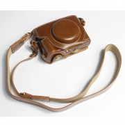 PU Leather Half Camera Case Bag with Strap for Canon PowerShot G5 X Mark II - Brown