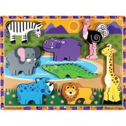 Safari Themed Chunky Puzzle + FREE Melissa & Doug Scratch Art Mini-Pad Bundle [37228]