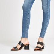 River Island Womens Black leather ball trim block heel mules (4)