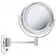 Jerdon HL165CD 8-Inch Lighted Wall Mount Direct Wire Makeup Mirror with 3x Magnification, Chrome Finish