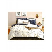 Lenjerie XXL premium din bumbac imprimat cu cearceaf de pat uni, toate modelele mod 1- alb negru crenguta