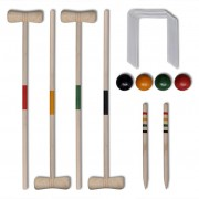 vidaXL Комплект от 4 дървени крокет стика