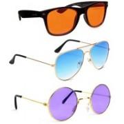 Elligator Aviator, Wayfarer, Round Sunglasses(Orange, Blue, Violet)
