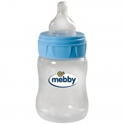Biberon Mebby, PP 150ml, tetina silicon, blue