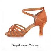 Perfect-display Zapatillas de Baile para Mujer, Deep Skin Cross 7cm, 7.5 US