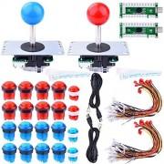 Longruner Raspberry Pi® 3 2 Modelo B Retropie, LED Arcade DIY Piezas 2x Zero Demora USB Codificador + 2x 8 Vías Joystick + 20x LED iluminado pulsador botones para Mame Jamma Arcade Project Rojo + Azul Kits