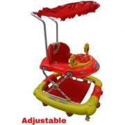 Oh Baby Baby Car Shape Adjustable Walker 9 in 1 Function With Musical Light Red Color Walker For Your Kids SE-W-97