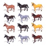 "1 Dozen Horse Toys 4"" Realistic Horses - Realistic Horses for Barns and Stable Play Sets - Fun Toys For Children - Makes An Amazing Party Favor"