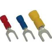 Szigetelt villás saru, ónozott elektrolitréz, kék - 2,5mm2, M5, (d1=2,3mm, d2=5,3mm), PVC KV5 - Tracon