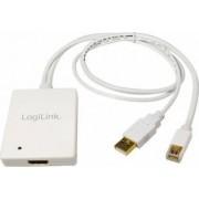 Adaptor LogiLink CV0041 mini Display Port+USB Audio la HDMI Alb