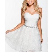 Bela cipkasta haljina sa cirkonima na struku