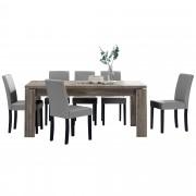 PremiumXL - [en.casa] Blagovaonski stol - rustični hrast - 170x79 cm - sa 6 tapeciranih stolica - svijetlo smeđa -