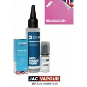 Lichid Tigara Electronica Premium Jac Vapour Bubblegum 60ml, Nicotina 3mg/ml, 80%VG 20%PG, Fabricat in UK, Pachet DiY