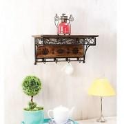 Onlineshoppee Wood Iron Wall /Book RackWithCoat Hanger(LxBxH-21xx9x10) Inch