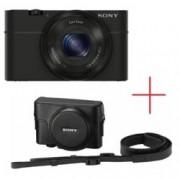 "Sony Cyber Shot DSC-RX100, черен + Leather case, 3.6xOptical zoom, 20.2Mpix, 3"" (7.62cm) екран, SDHC/SDXC, micro USB, micro HDMI"