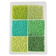 eshoppee 3mm (8/0) 300 gm glass beads seed beads for jewelry making art and craft diy project kit (green family 8/0)