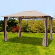 Intent24.fr Tonnelle de jardin 3x4m Polyester pelliculé polyuréthane 280 g/m² taupe imperméable
