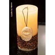 kaarsen: Koffie kaars wit Rond, H: 14 cm