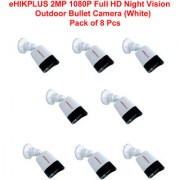 eHIKPLUS 2MP 1080P Full HD Night Vision Outdoor Bullet Camera (White) - Pack of 8 Pcs
