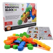 Kids Building Geometry Block Toy - Wishtime JTB17026 2017 New Collection 3D Building Block Set in 4 Colors 5 Shapes 48 pcs Creative and Educational Gift for Toddler (color may vary)