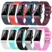 X4-Tech Compatible with Fitbit Charge 3 Bands Small Large for Women Men, Choose Color Soft Silicone Sports Replacement Accessory Band for Charge 3 Fitness Activity Tracker (10PCS, Large)
