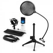 auna MIC-900WH-LED USB Conjunto Microfone V2 | Microfone Condensador | Filtro Pop | Suporte p/Mesa