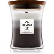 Woodwick Trilogy Warm Woods lumânare parfumată cu fitil din lemn 275 g