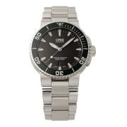 【30%OFF】Aquis ラウンド デイト ウォッチ フェイス:ブラック ベルト:シルバー ファッション > 腕時計~~メンズ 腕時計