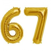 De-Ultimate Solid Golden Color 2 Digit Number (67) 3d Foil Balloon for Birthday Celebration Anniversary Parties