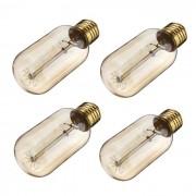 E27 T45 40W Edison vendimia bombillas de filamento de tungsteno blanco calido ( 4PCS )