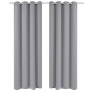 vidaXL 2 pcs Grey Blackout Curtains with Metal Rings 135 x 245 cm