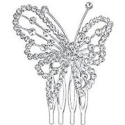 LY8 Hair Jewelry Silver-Tone Crystal Butterfly Wedding Bridal Hair Combs Clips Hair Pin Hair Accessories