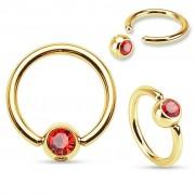 Piercing Street Piercing anneau captif Plaqué Or Strass Rouge