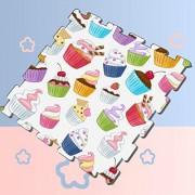Zaqiwa Patrón de Magdalenas Coloridas baldosas de Espuma Blanca Baldosas de Espuma de Enclavamiento Alfombrilla de Piso Alfombras de protección Suave para bebés, 16baldosas, baldosas de Espuma d