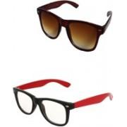 Amour-Propre Wayfarer Sunglasses(Brown, Clear)